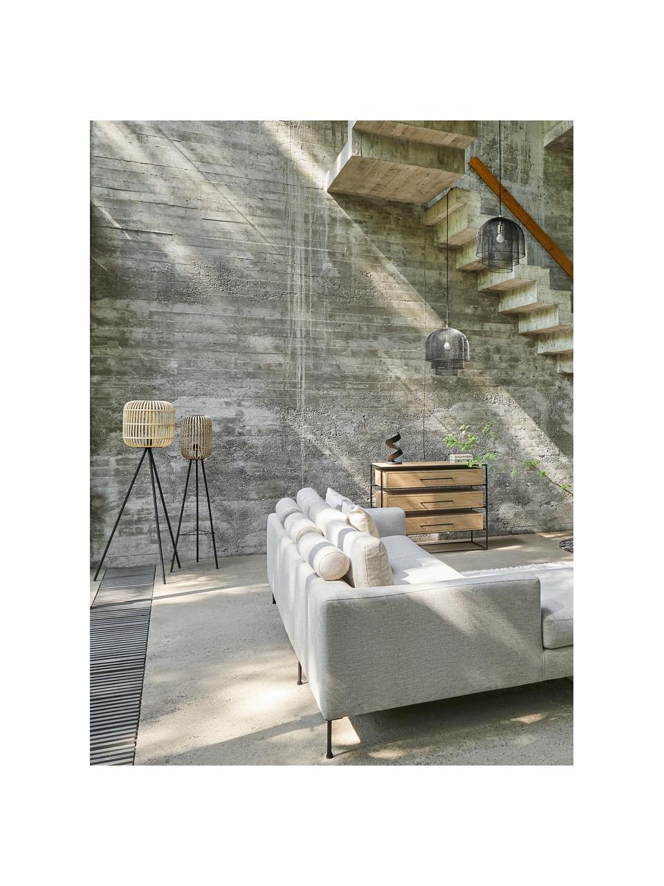 Driepoot vloerlamp Bordesley in boho stijl, Lampenkap: bamboe, hout, Lampvoet: staal, Zwart, hout, Ø 35 x H 139 cm
