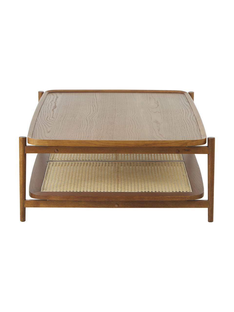 Salontafel Libby van eikenhout met Weens vlechtwerk, Tafelblad: eikenhoutfineer met MDF, Plank: rotan, Frame: massief gelakt eikenhout, Bruin, 110 x 35 cm