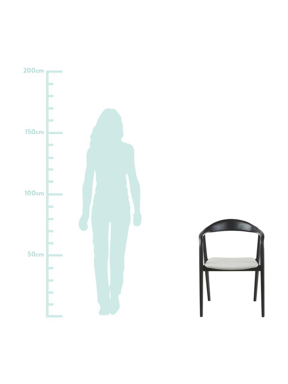 Gestoffeerde armstoel Angelina van massief hout, Bekleding: 100% polyester, Frame: massief essenhout, gelakt, Grijs, 57 x 57 cm