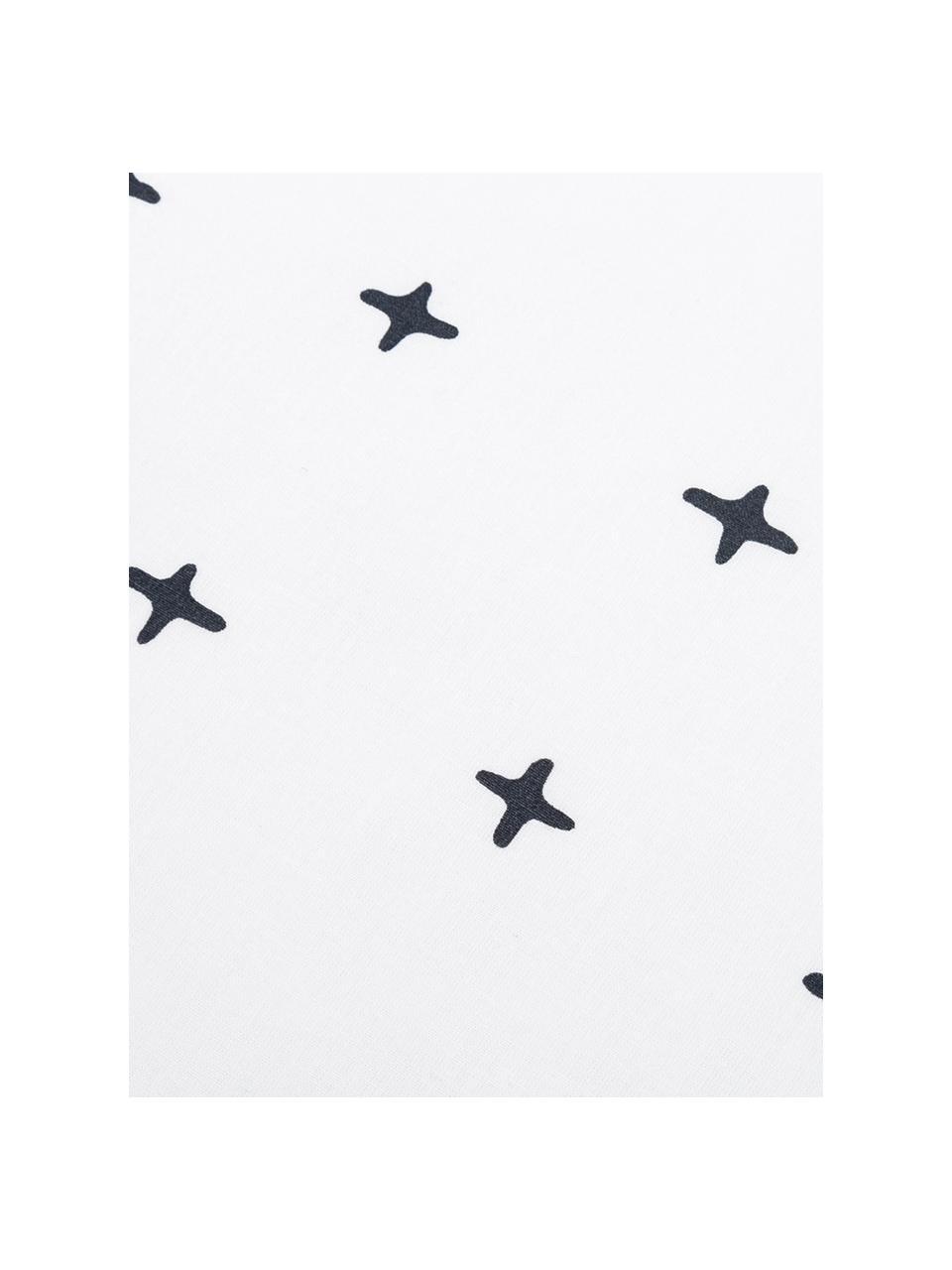 Dubbelzijdig renforcé dekbedovertrek Odd Twins, Weeftechniek: renforcé, Bovenzijde: wit, antraciet. Onderzijde: wit, grijs, 200 x 220 cm