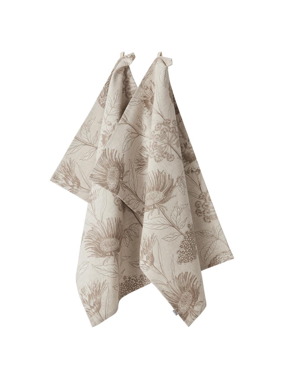 Geschirrtücher Freya mit Blumenprint, 2 Stück, 86% Baumwolle, 14% Leinen, Beige, Braun, 50 x 70 cm