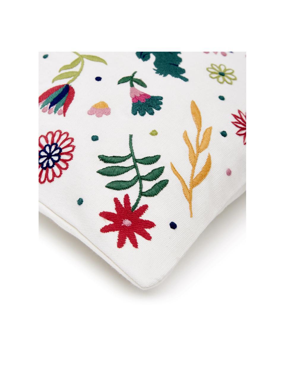 Bestickte Kissenhülle Folka mit buntem Muster, 100% Baumwolle, Mehrfarbig, 45 x 45 cm