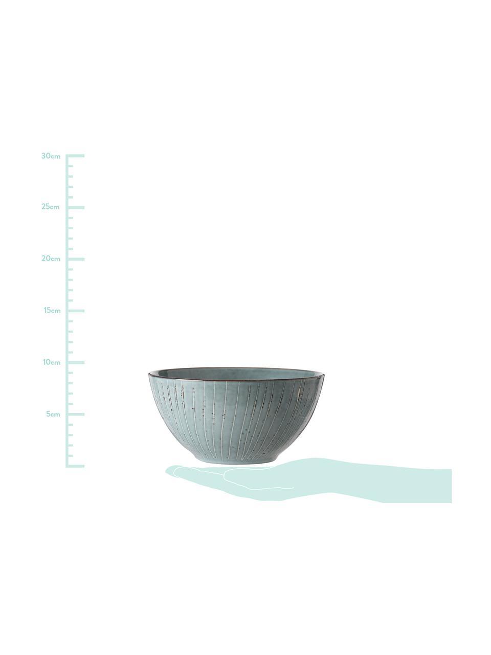 Handgemachte Schälchen Nordic Sea Ø 17 cm aus Steingut, 4 Stück, Steingut, Grau- und Blautöne, Ø 17 x H 9 cm