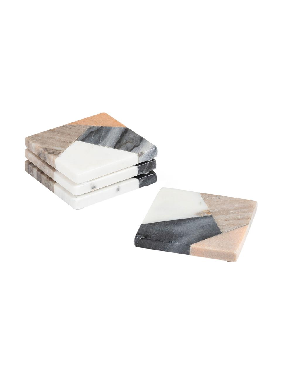 Eckige Marmor-Untersetzer Bradney, 4 Stück, Keramik, Marmor, Mehrfarbig, B 10 x T 10 cm