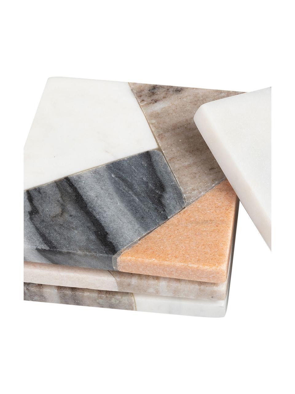 Podstawka z marmuru Bradney, 4 elem., Ceramika, marmur, Wielobarwny, S 10 x G 10 cm