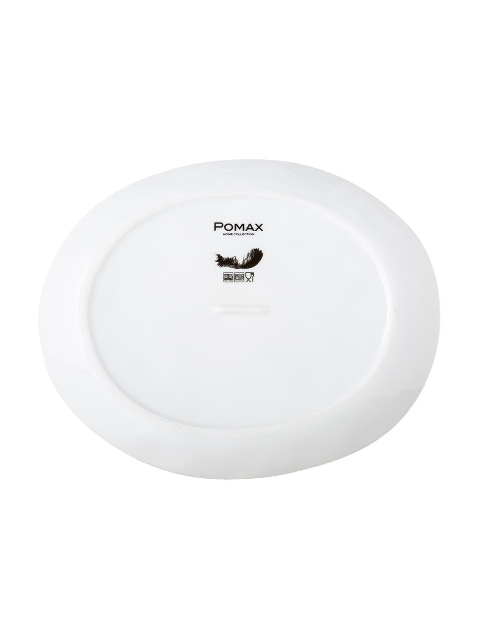Owalny talerz śniadaniowy Porcelino, 4 szt., Porcelana o celowo nierównym kształcie, Biały, D 23 x S 19 cm