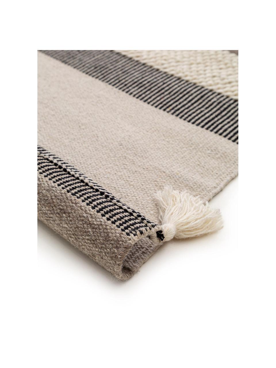 Ręcznie tkany dywan z wełny z chwostami Tammi, 80% wełna, 20% bawełna   Włókna dywanów wełnianych mogą nieznacznie rozluźniać się w pierwszych tygodniach użytkowania, co ustępuje po pewnym czasie, Szary, beżowy, taupe, S 200 x D 300 cm (Rozmiar L)