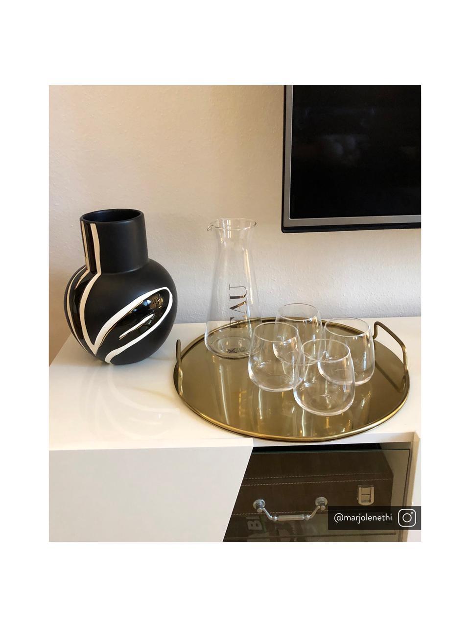 Glaskaraffe Eau mit goldenem Schriftzug, 1 L, Glas, Transparent, Goldfarben, H 23 cm