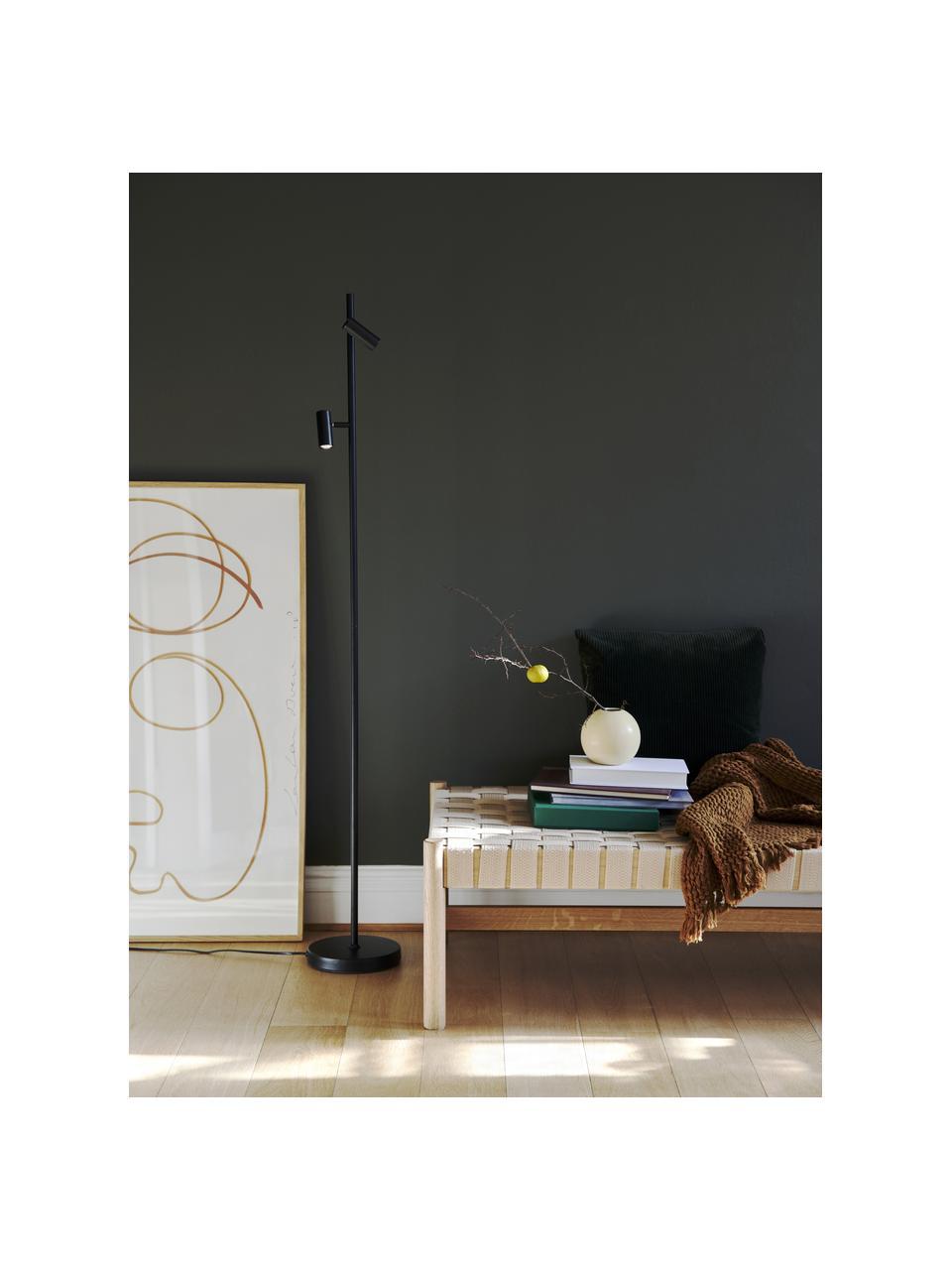 Dimmbare LED-Leselampe Omari in Schwarz, Lampenschirm: Metall, beschichtet, Lampenfuß: Metall, beschichtet, Schwarz, 20 x 141 cm