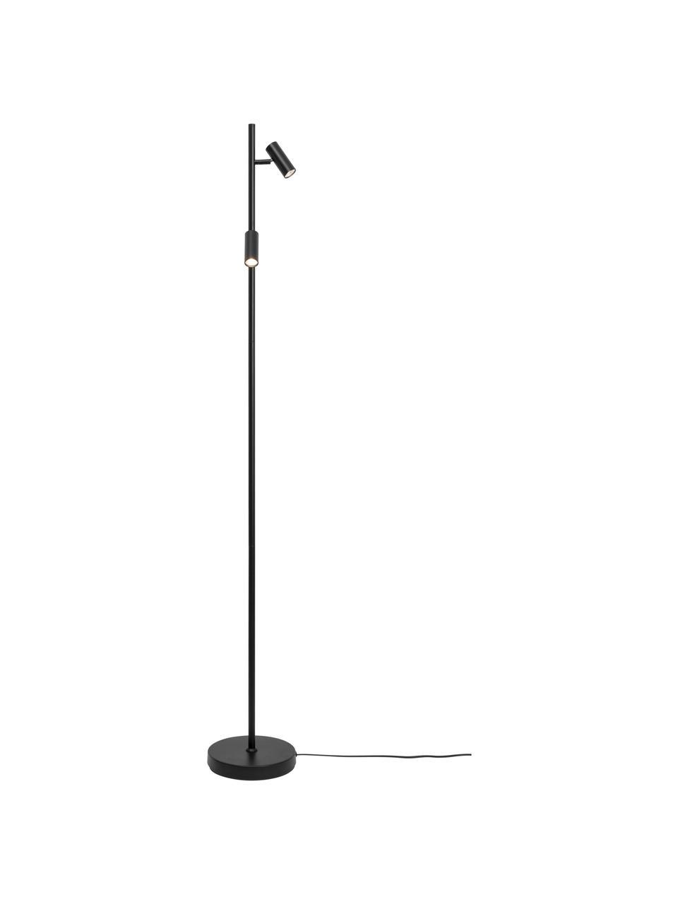LED vloerlamp Omari, Lampenkap: gecoat metaal, Lampvoet: gecoat metaal, Zwart, 20 x 141 cm