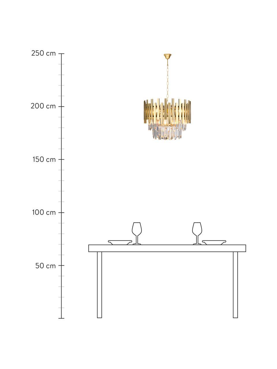 Design Kronleuchter Aspen in Gold, Lampenschirm: Metall, beschichtet, Baldachin: Metall, beschichtet, Goldfarben, Transparent, Ø 45 x H 30 cm