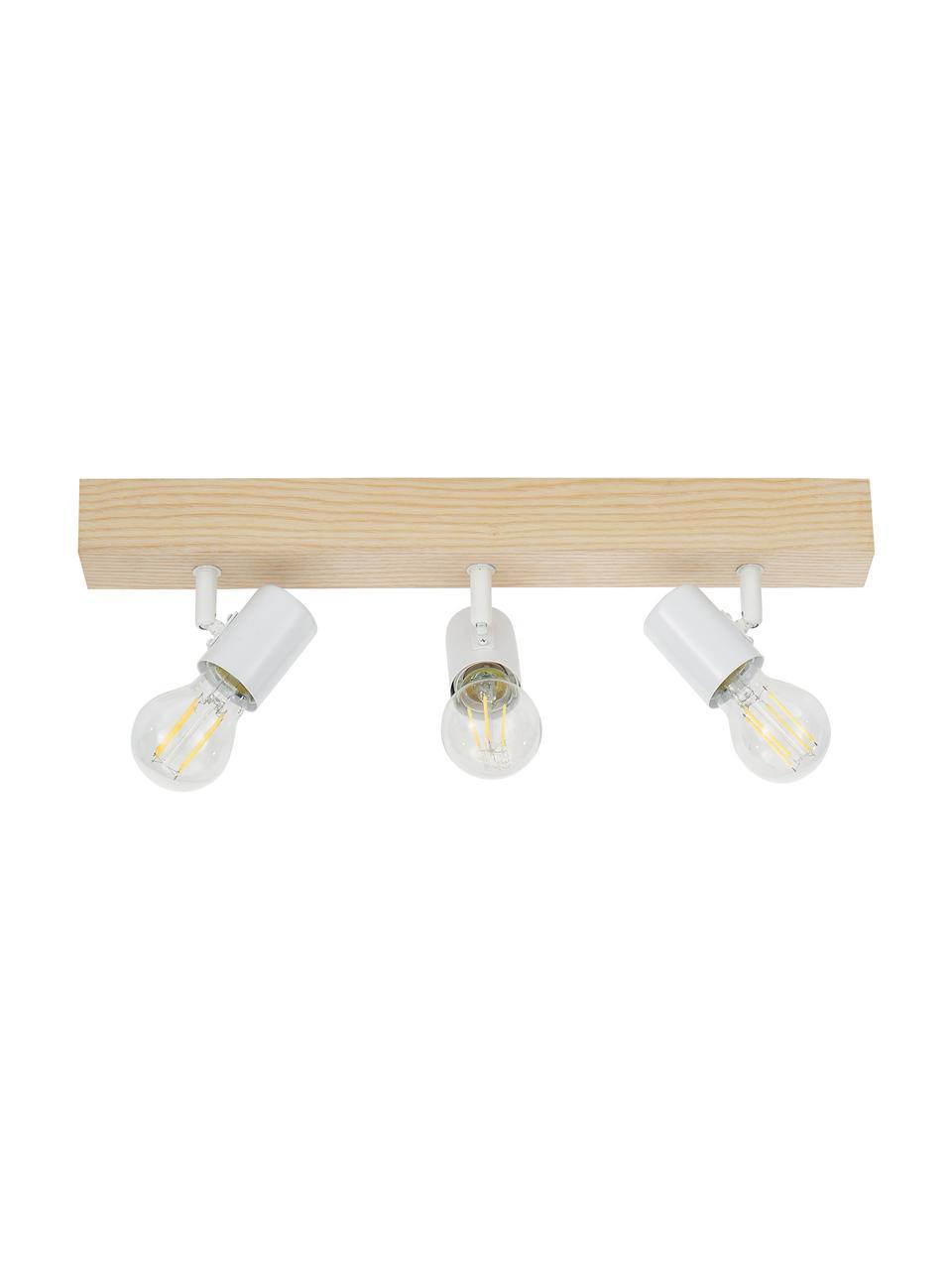 Faretti da soffitto in legno Townshend, Baldacchino: legno, Bianco, legno, Larg. 48 x Alt. 13 cm