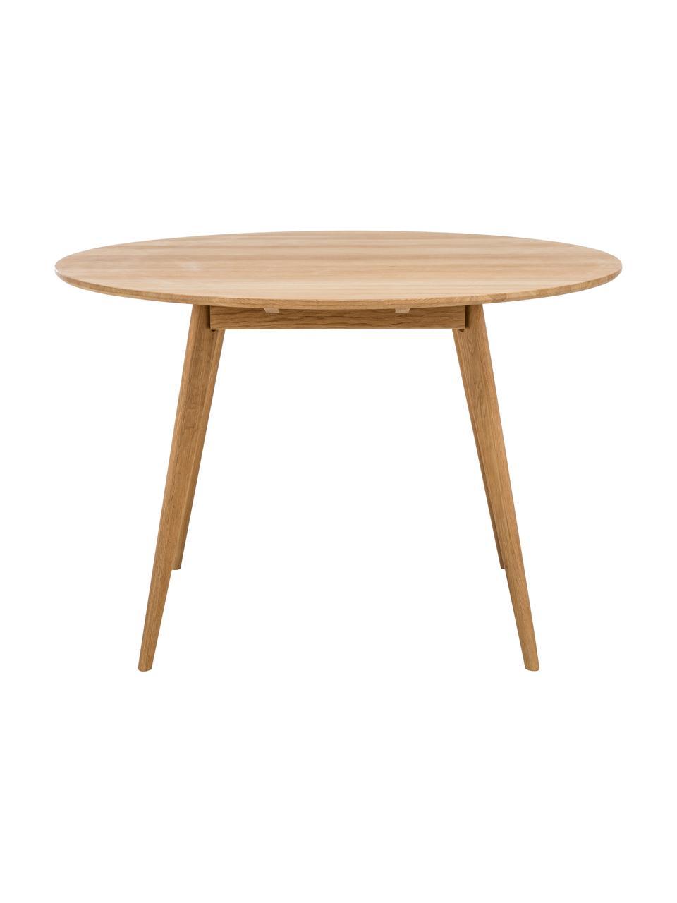 Tavolo rotondo in legno Yumi, Piano d'appoggio: pannello di fibra a media, Gambe: legno di quercia massello, Marrone, Ø 115 x Alt. 74 cm