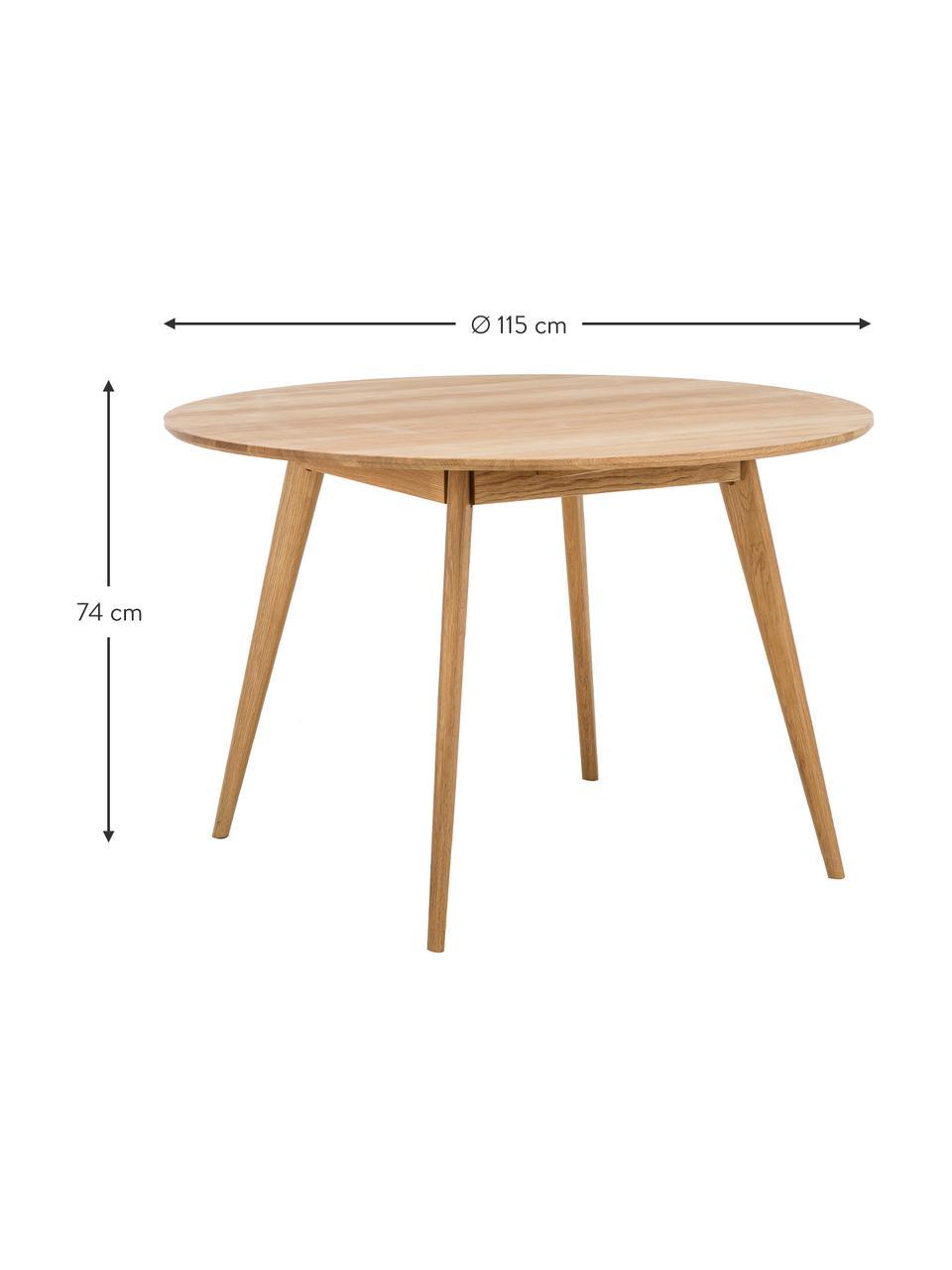 Ronde houten eettafel Yumi, Tafelblad: MDF met eikenhoutfineer, Poten: massief eikenhout, Eikenhoutkleurig, Ø 115 cm
