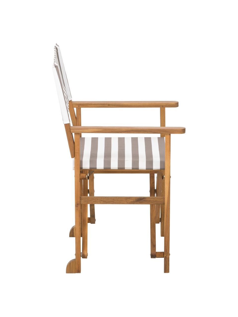 Krzesło reżysera Zoe, Stelaż: drewno akacjowe, olejowan, Beżowy, biały, S 52 x G 58 cm