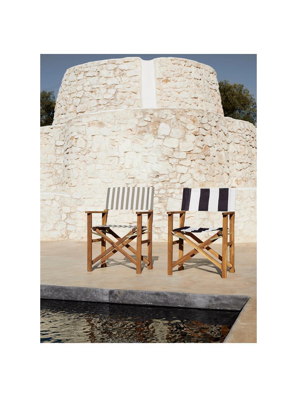 Sedia pieghevole da regista con struttura in legno Zoe, Struttura: legno di acacia oliato, Beige, bianco, Larg. 52 x Prof. 58 cm