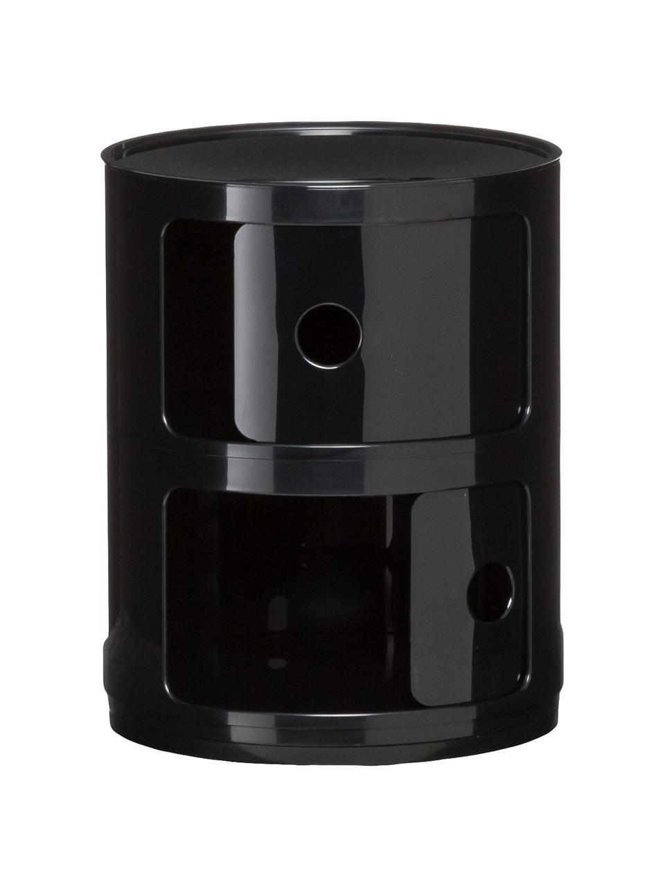 Comodino contenitore di design con 2 cassetti Componibili, Materiale sintetico (ABS), verniciato, Nero lucido, Ø 32 x Alt. 40 cm