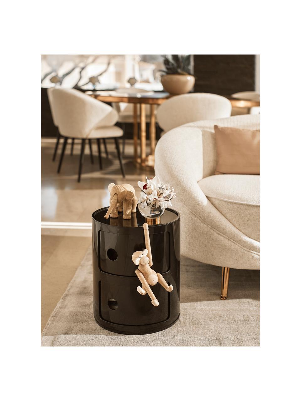 Stolik pomocniczy Componibile, Tworzywo sztuczne (ABS), lakierowane, Czarny, błyszczący, Ø 32 x W 40 cm