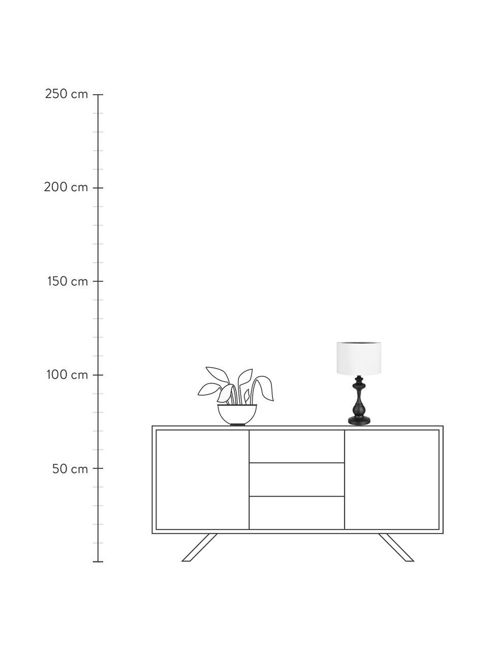 Tischlampe Connor in Weiß-Schwarz, Lampenschirm: Textil, Lampenfuß: Metall, lackiert, Schwarz, Weiß, Ø 24 x H 45 cm
