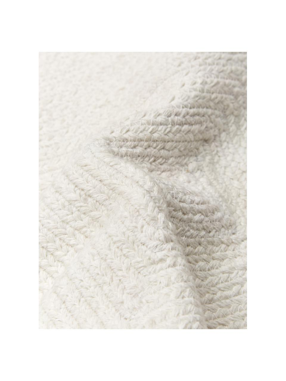 Federa arredo effetto juta Justina, 100% cotone, Bianco crema, Larg. 45 x Lung. 45 cm