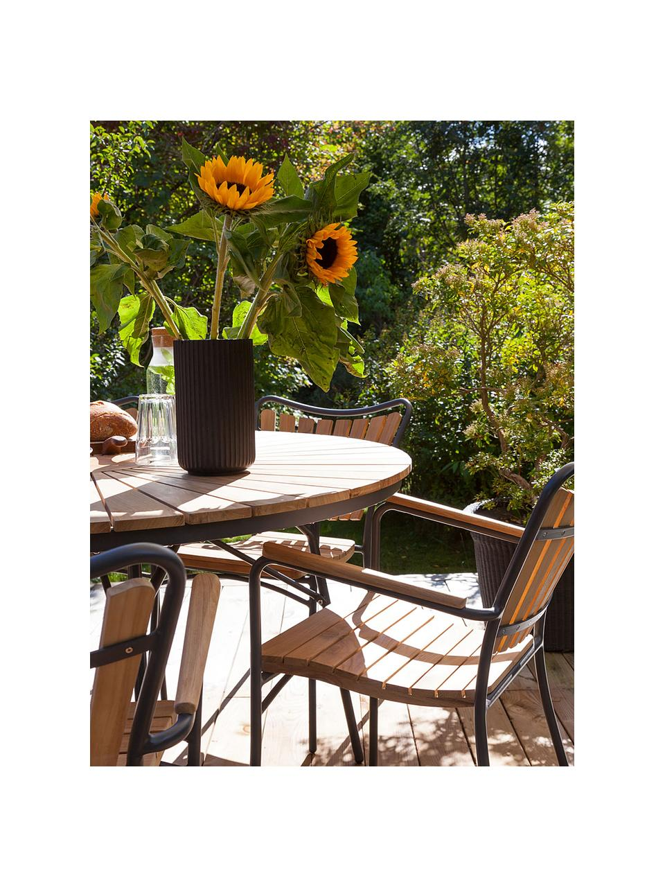 Gartensitzgruppe Ellen, 5-tlg. aus Holz und Metall, Teakholz, geölt Aluminium, pulverbeschichtet, Anthrazit, Teakholz, Sondergrößen