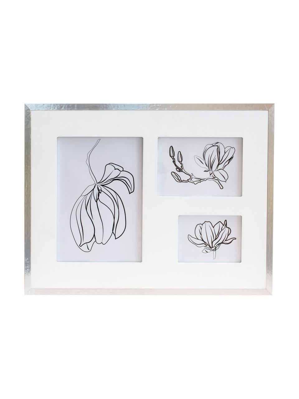 Bilderrahmen Austin Flowers, Rahmen: Mitteldichte Holzfaserpla, Front: Glas, Silberfarben, Set mit verschiedenen Größen