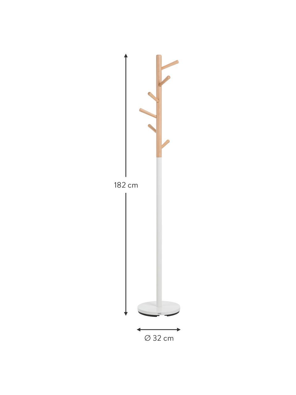 Kleiderständer Kent mit 6 Haken, Fuß: Stahl, pulverbeschichtet, Weiß, Buche, Ø 32 x H 182 cm