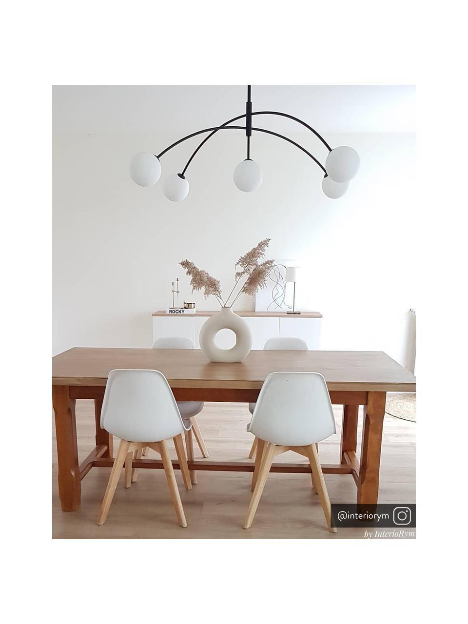 Lampada a sospensione in vetro opale Heaven, Paralume: vetro opale, Baldacchino: metallo rivestito, Nero, Ø 117 x Alt. 70 cm