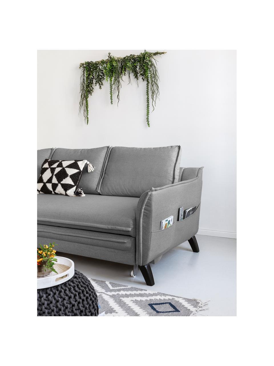 Sofa narożna z funkcją spania i miejscem do przechowywania Charming Charlie, Tapicerka: 100% poliester, w dotyku , Stelaż: drewno naturalne, płyta w, Szary, S 228 x G 150 cm