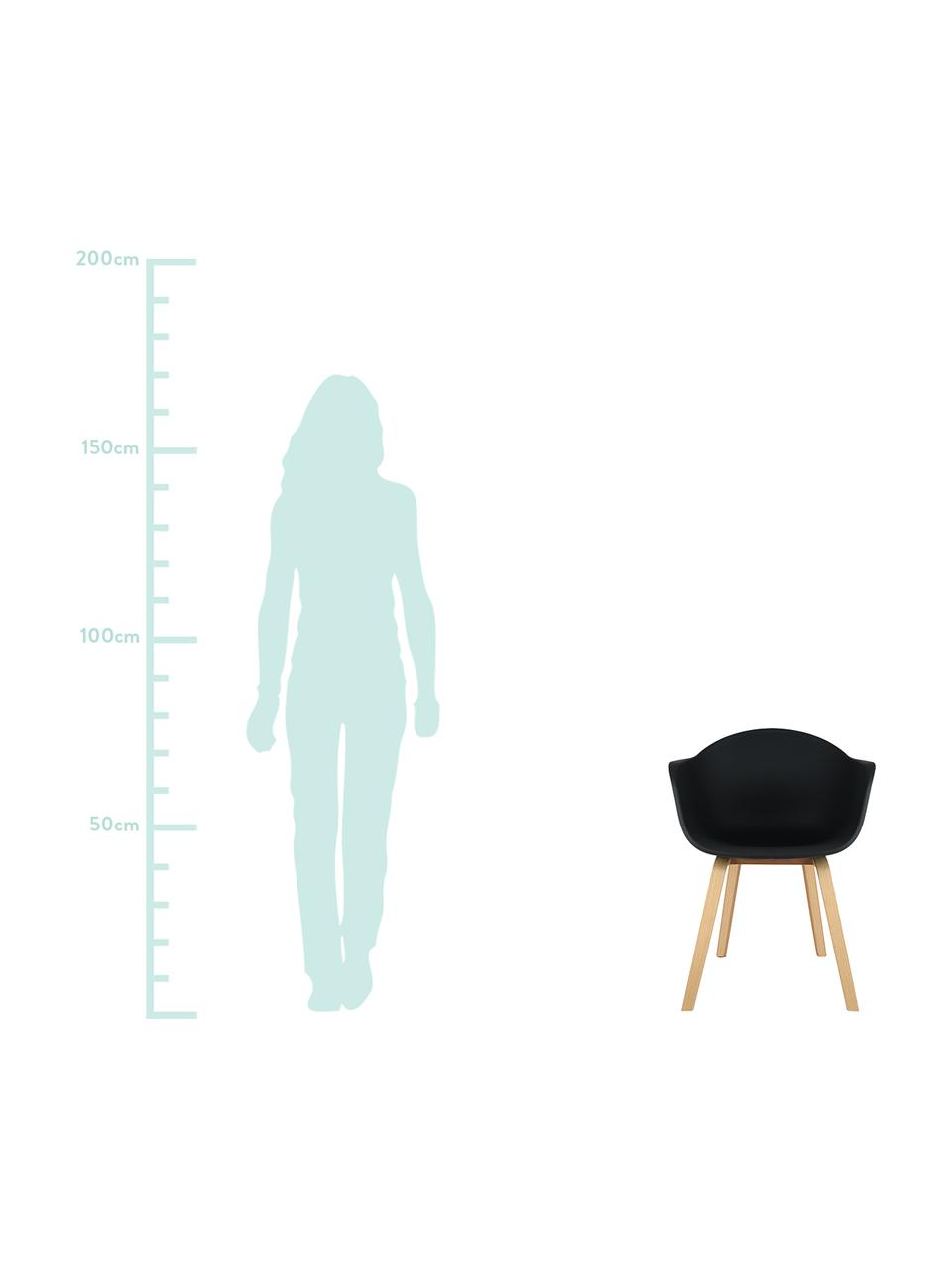 Kunststoff-Armlehnstuhl Claire mit Holzbeinen, Sitzschale: Kunststoff, Beine: Buchenholz, Kunststoff Schwarz, B 60 x T 54 cm