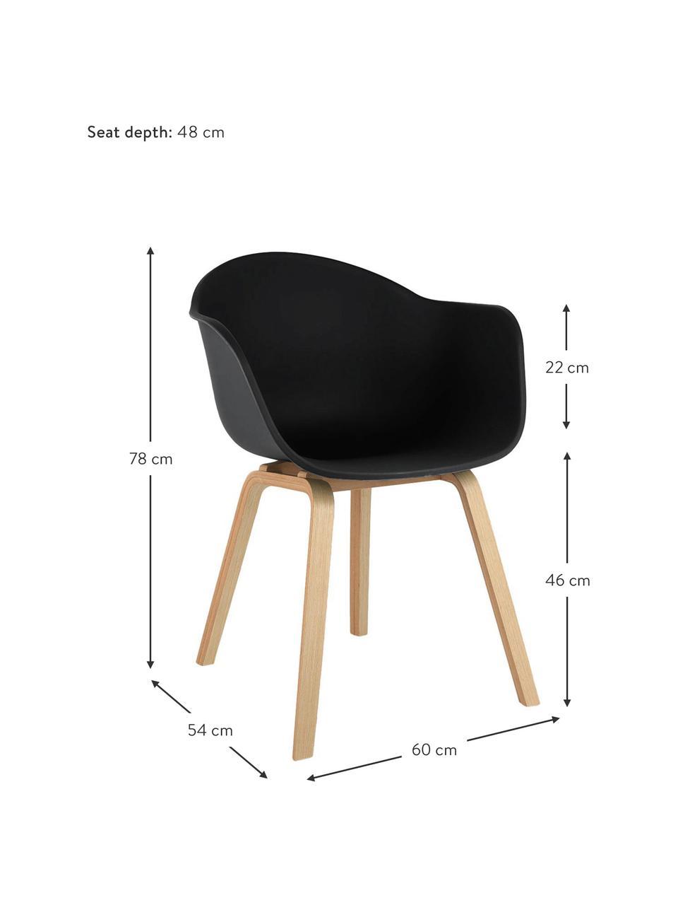 Krzesło z podłokietnikami z tworzywa sztucznego Claire, Nogi: drewno bukowe, Czarny, S 60 x G 54 cm