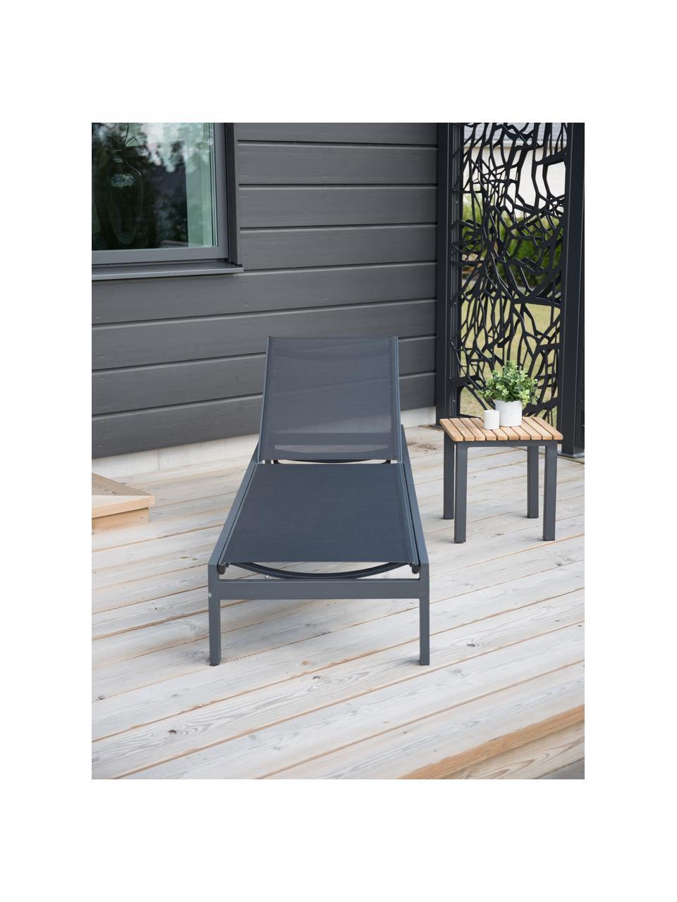 Lettino prendisole in alluminio nero Copacabana, Struttura: alluminio laccato, Nero, Lung. 195 x Larg. 60 cm