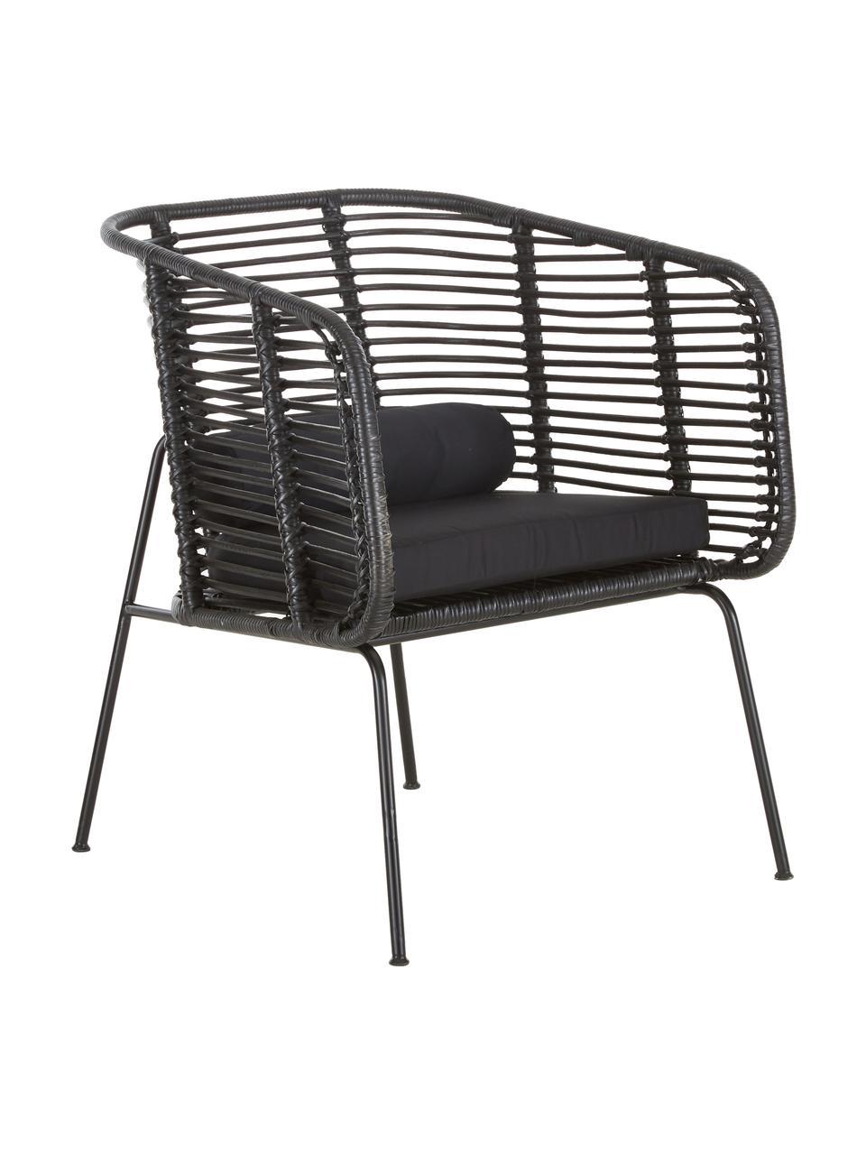Rattan-Loungestuhl Merete, Sitzfläche: Rattan, Gestell: Metall, pulverbeschichtet, Sitzfläche: SchwarzGestell: Schwarz, mattKissenhüllen: Schwarz, B 72 x T 74 cm