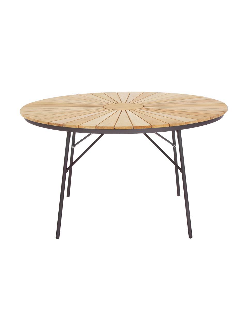 Okrągły stół ogrodowy z drewna Hard & Ellen, Blat: drewno tekowe, piaskowane, Antracytowy, drewno tekowe, Ø 110 x W 73 cm