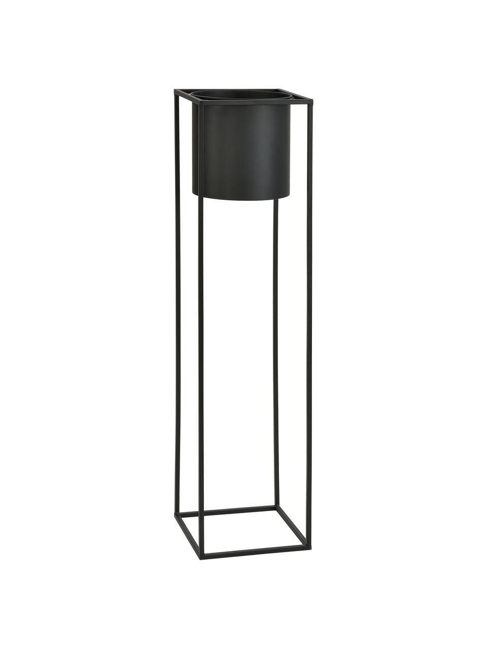 Duża osłonka na doniczkę z metalu Bragi, Metal lakierowany, Czarny, S 26 x W 100 cm