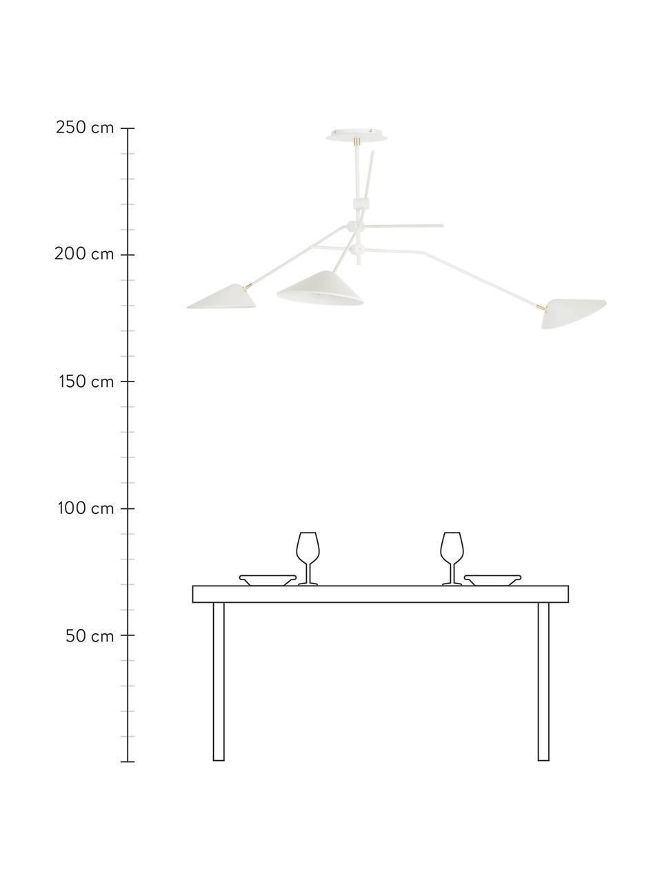 Lampada bianca da soffitto con dettaglio dorato Neron, Paralume: metallo verniciato a polv, Struttura: metallo verniciato a polv, Baldacchino: metallo verniciato a polv, Bianco, Larg. 173 x Alt. 52 cm