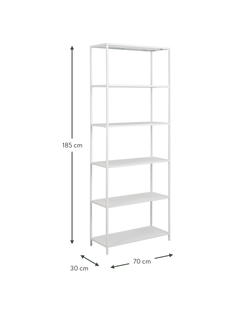 Libreria in metallo bianco Neptun, Metallo rivestito, Bianco, Larg. 70 x Alt. 185 cm