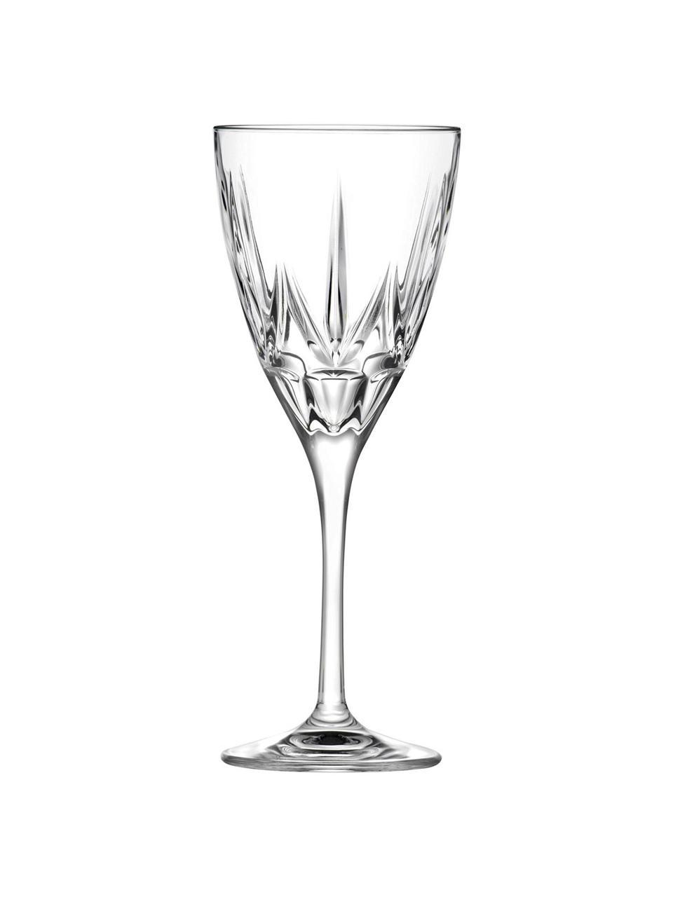 Kristallen witte wijnglazen Chic met reliëf, 6 stuks, Luxion kristalglas, Transparant, Ø 8 x H 21 cm
