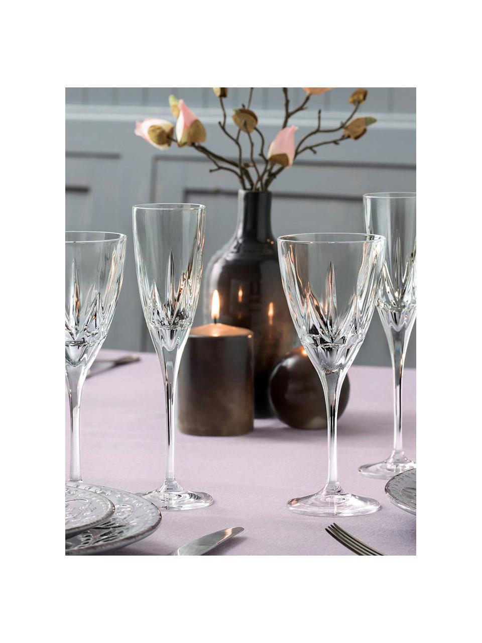 Kristall-Weißweingläser Chic mit Relief, 6 Stück, Luxion-Kristallglas, Transparent, Ø 8 x H 21 cm