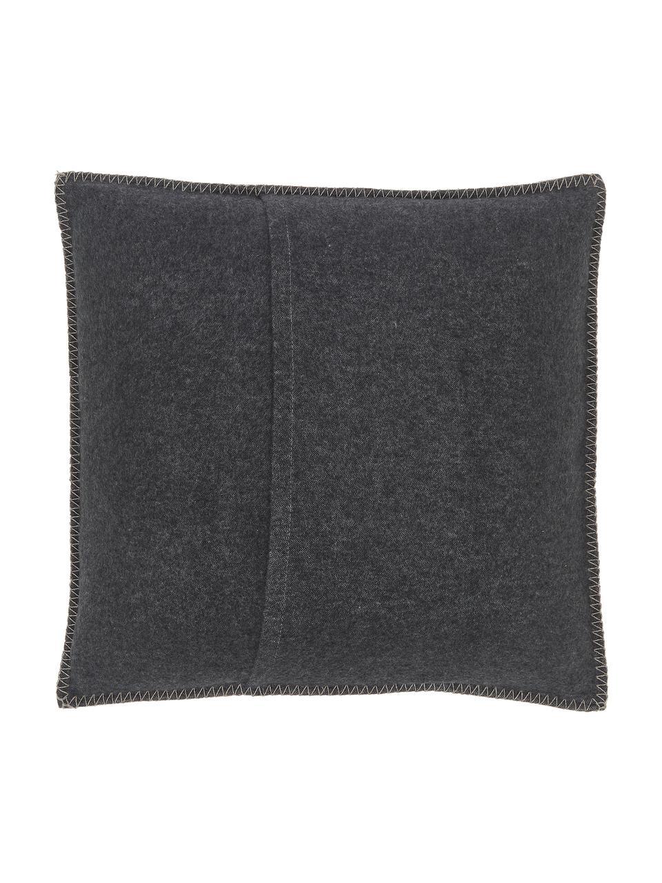 Weiche Fleece-Kissenhülle Sylt Hirsch in Grau, 85%Baumwolle, 8%Viskose, 7%Polyacryl, Anthrazit, Beige, 50 x 50 cm
