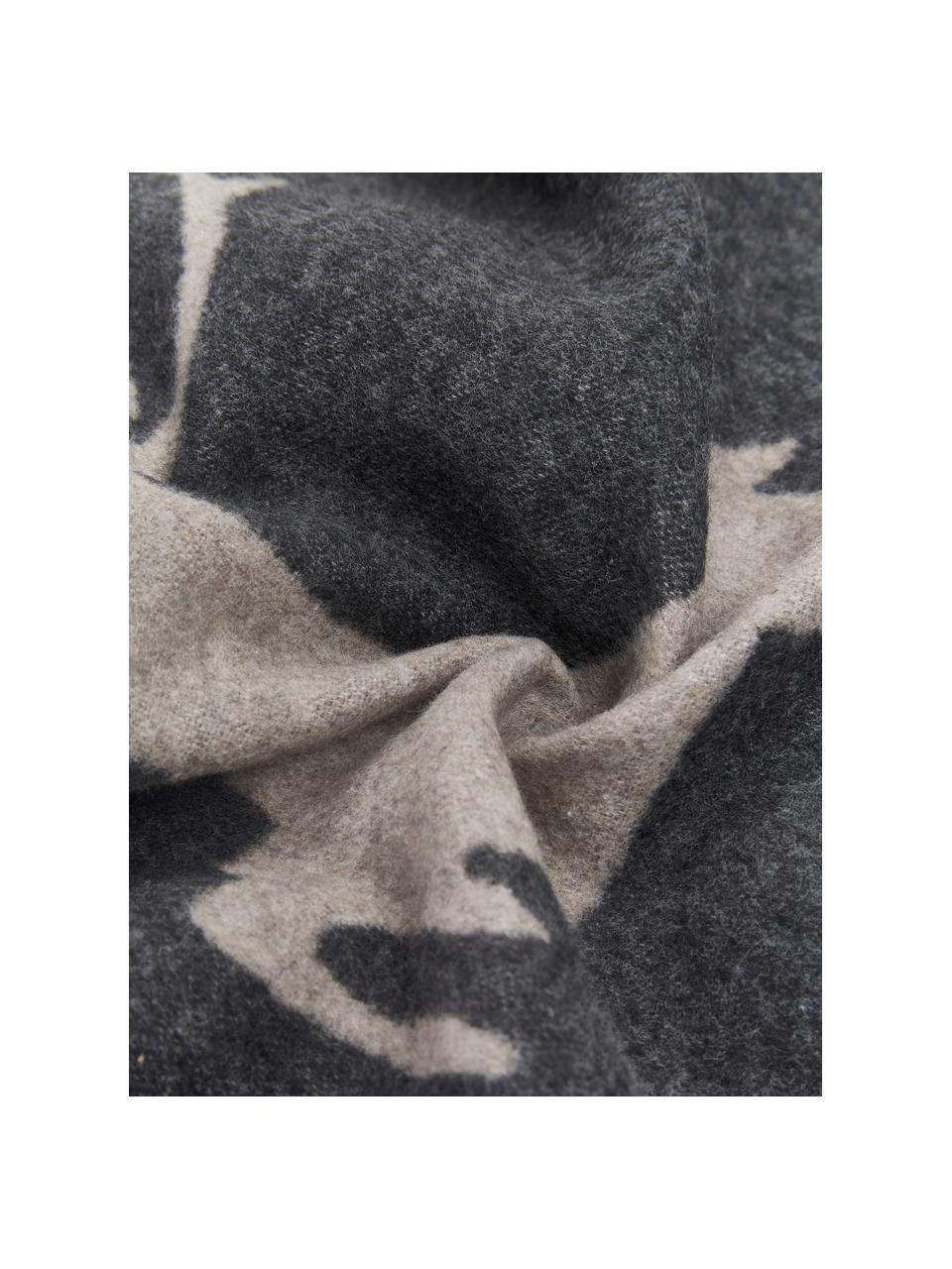 Federa in morbido pile Sylt Hirsch, 85% cotone, 8% viscosa, 7% poliacrilico, Antracite, beige, Larg. 50 x Lung. 50 cm