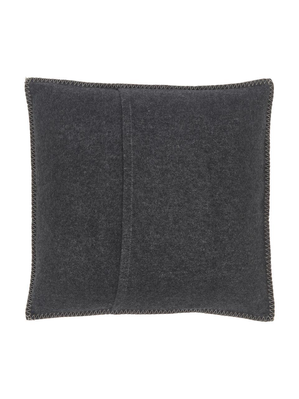 Poszewka na poduszkę z polaru Sylt Hirsch, 85% bawełna, 8% wiskoza, 7% poliakryl, Antracytowy, beżowy, S 50 x D 50 cm