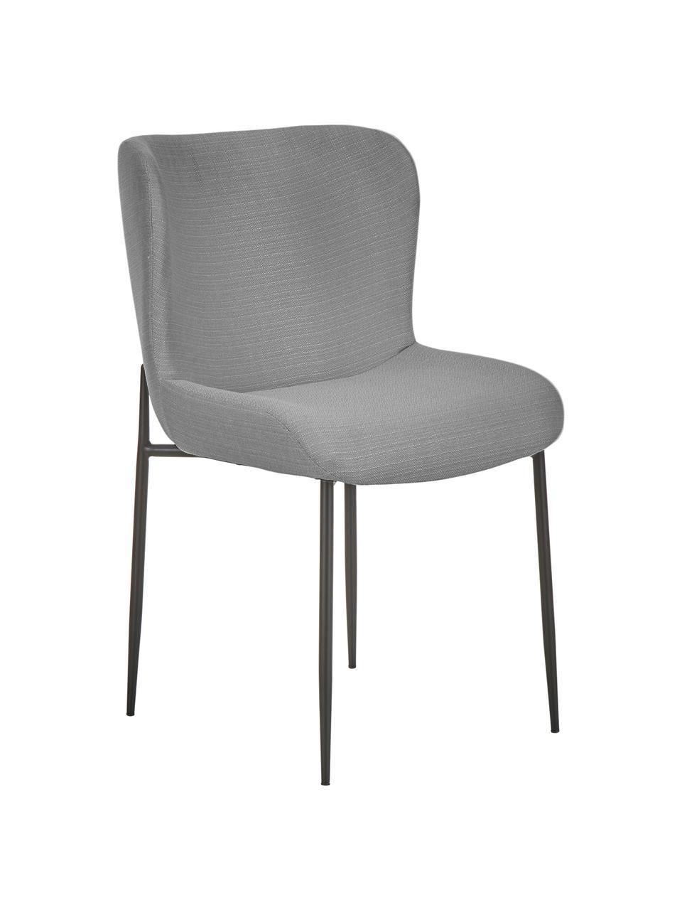 Polsterstuhl Tess in Grau, Bezug: Polyester Der hochwertige, Beine: Metall, pulverbeschichtet, Webstoff Grau, Schwarz, 49 x 84 cm