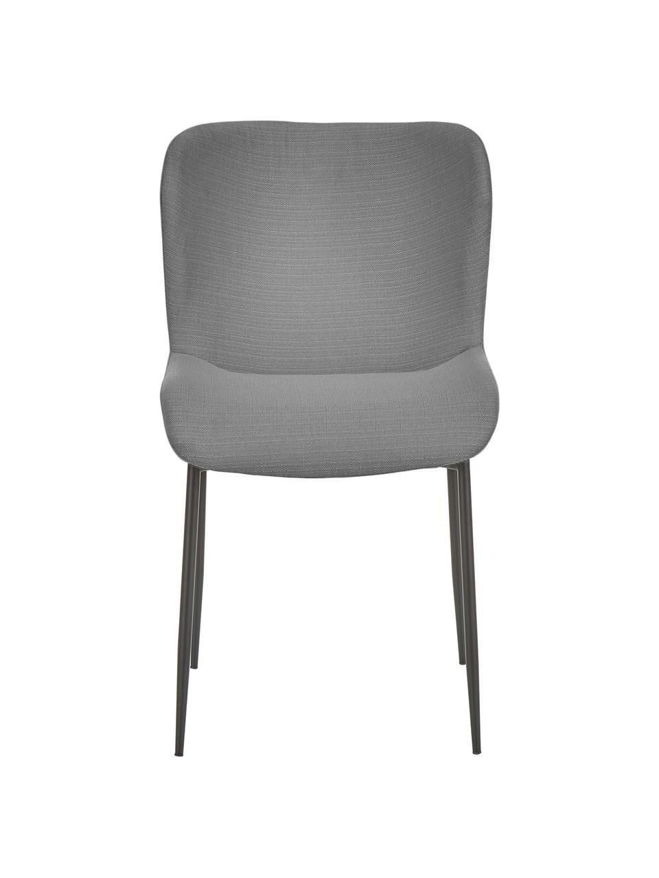 Sedia imbottita in tessuto Tess, Rivestimento: poliestere Con 25.000 cic, Gambe: metallo verniciato a polv, Tessuto grigio, nero, Larg. 49 x Alt. 84 cm