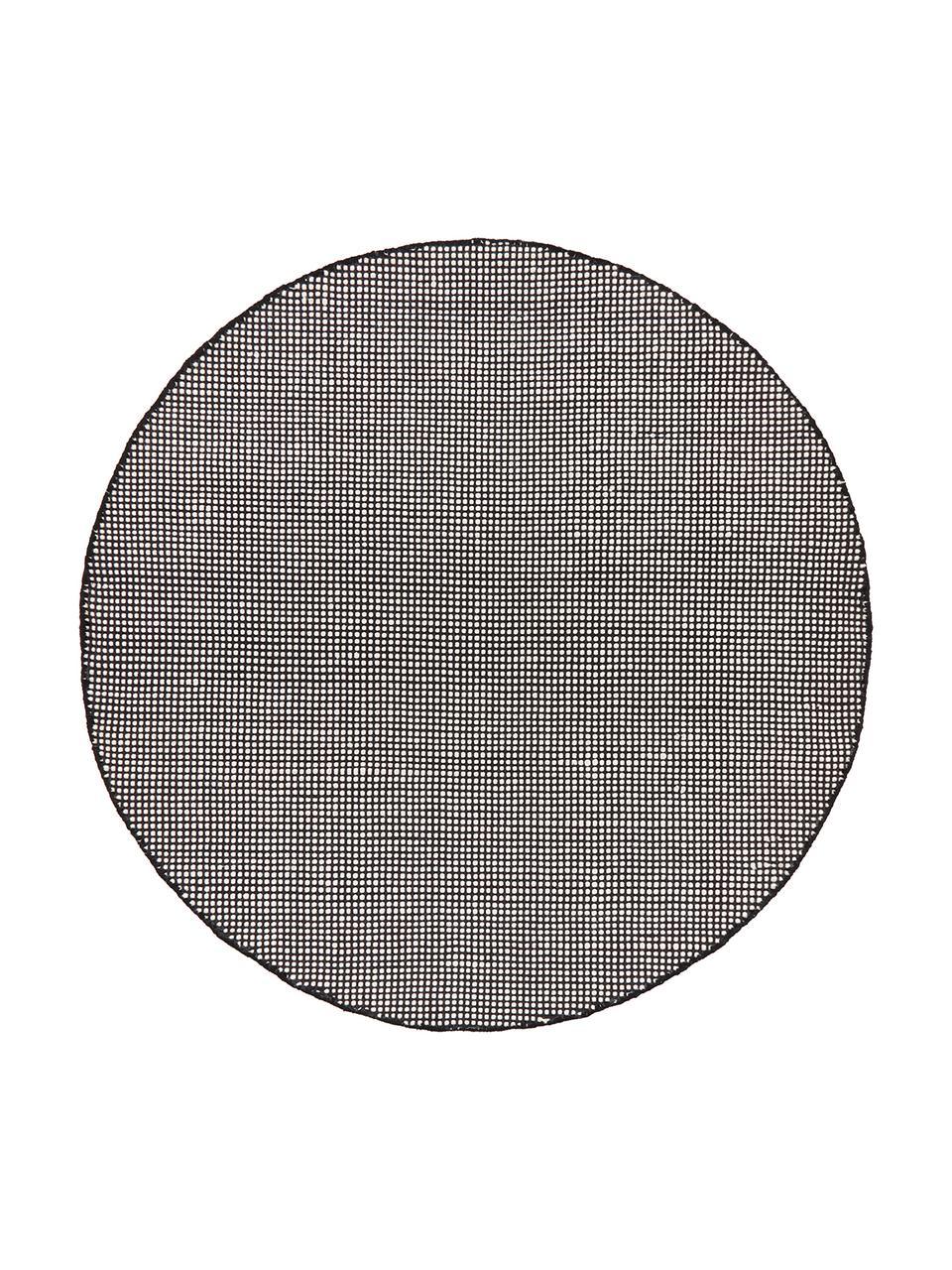 Runder Wollteppich Amaro in Schwarz/Creme, handgewebt, Flor: 100% Wolle, Schwarz, Cremeweiß, Ø 140 cm (Größe M)