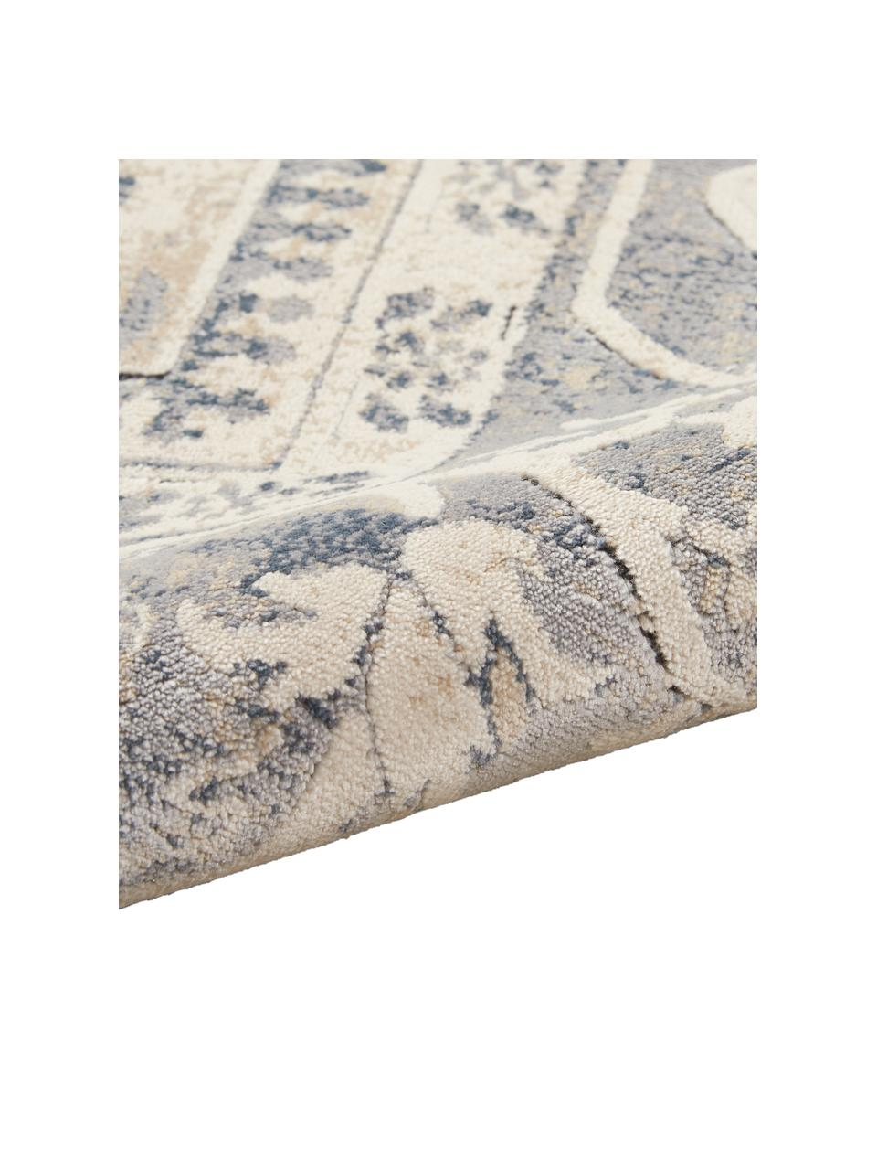 Dywan w stylu vintage Malta, 90% polipropylen, 10% kordonek, Kość słoniowa, odcienie niebieskiego, S 240 x D 330 cm (Rozmiar L)