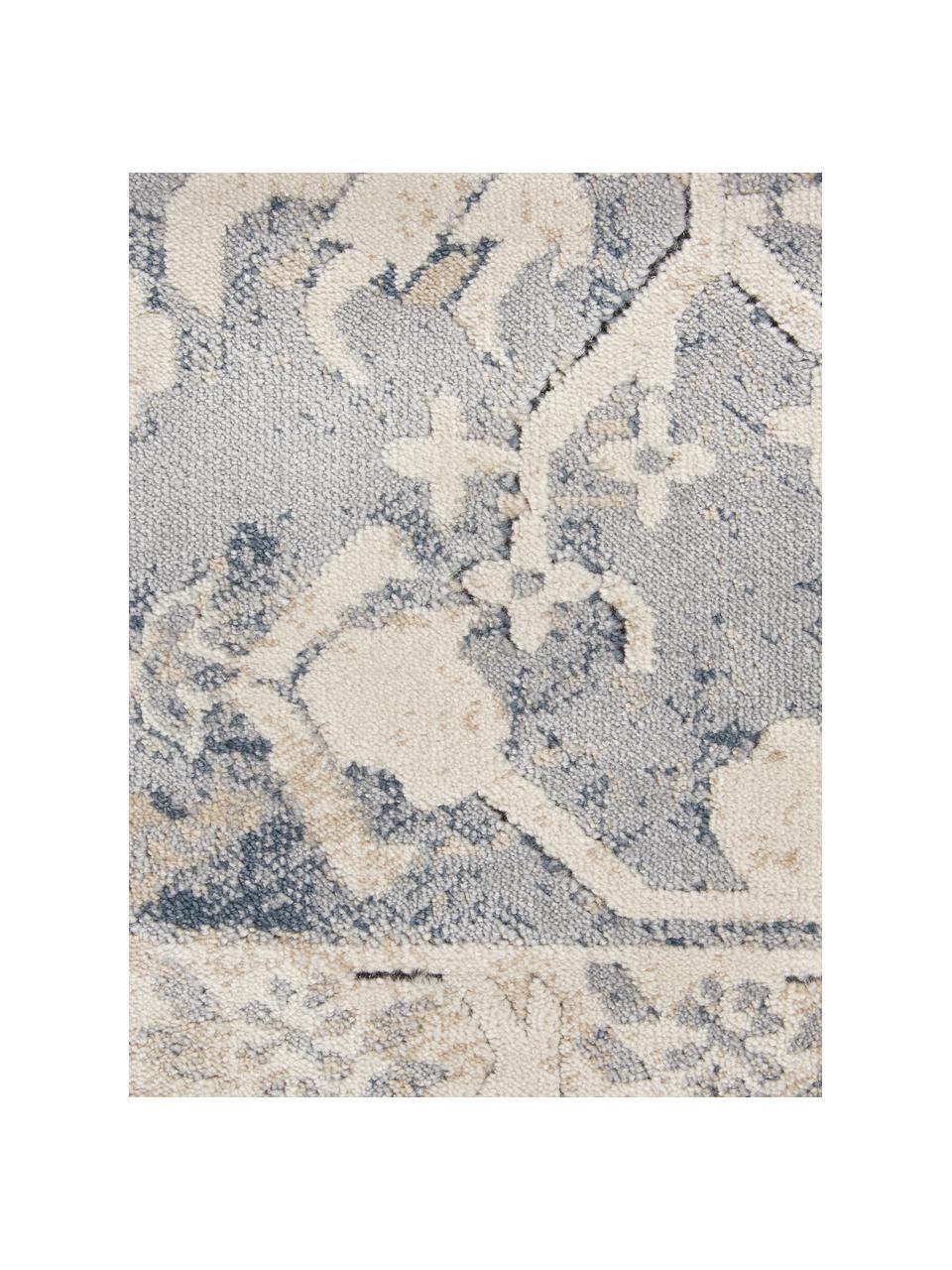 Vintage vloerkleed Malta in blauw-beige, 90% polypropyleen, 10% chenille, Ivoorkleurig, blauwtinten, B 240 x L 330 cm (maat L)
