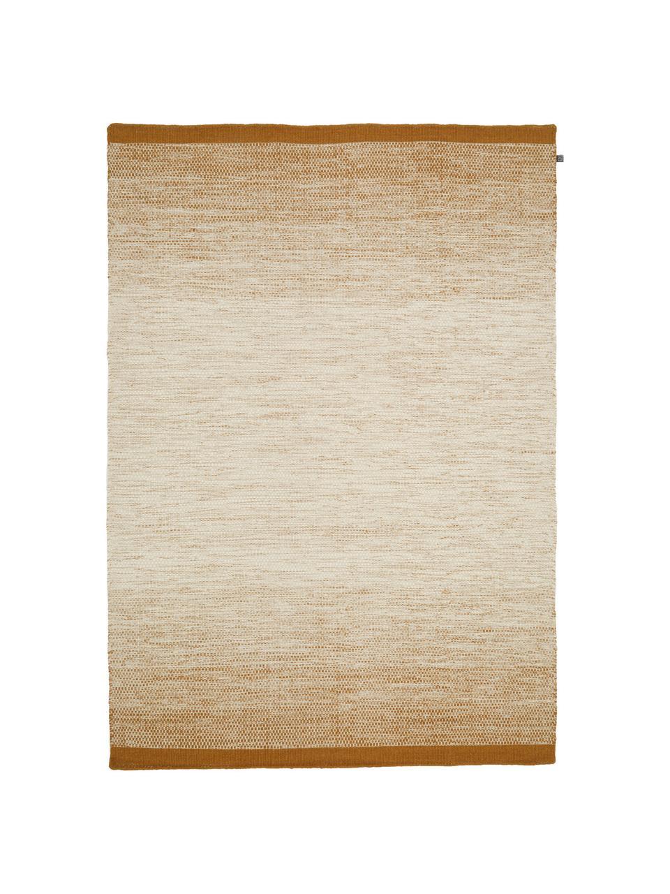 Handgeweven wollen vloerkleed Lule met kleurverloop in beige/geel, 70% wol, 30% katoen Bij wollen vloerkleden kunnen vezels loskomen in de eerste weken van gebruik, dit neemt af door dagelijks gebruik en pluizen wordt verminderd., Okergeel, beige, B 200 x L 300 cm (maat L)