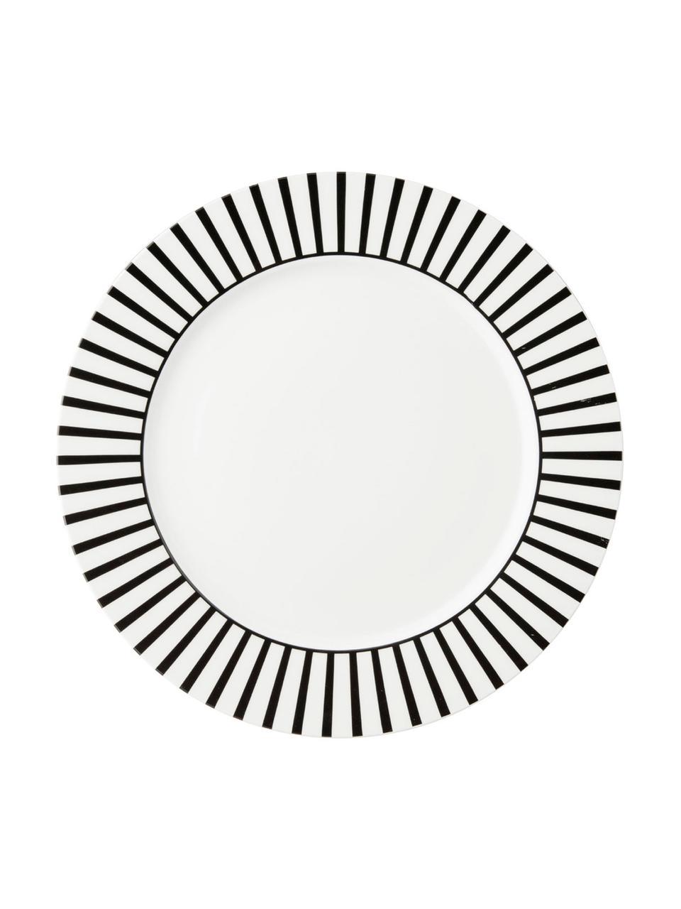 Piatto piano con decoro a righe Ceres Loft 4 pz, Porcellana, Bianco, nero, Ø 26 x Alt. 2 cm