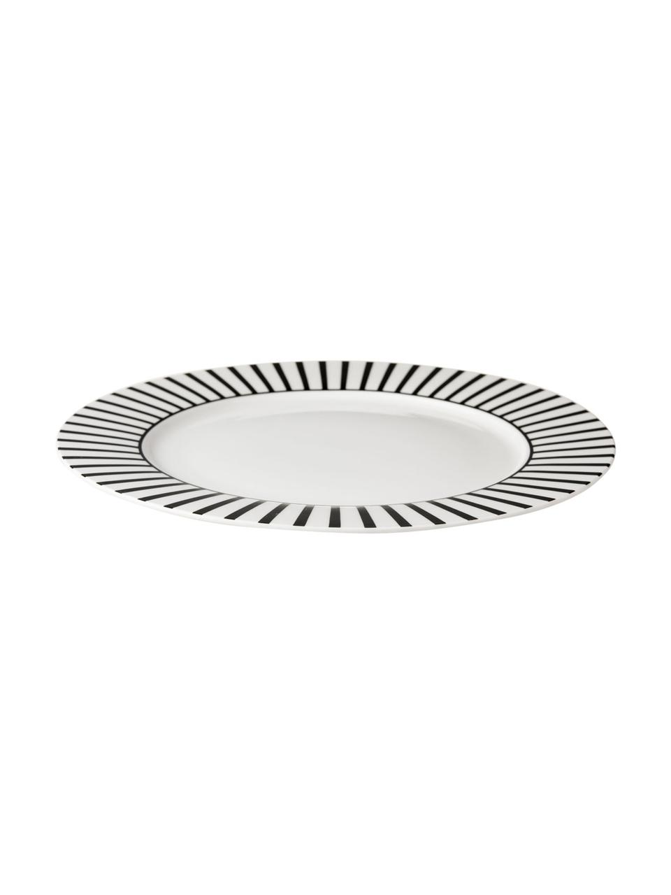 Talerz duży Ceres Loft, 4 szt., Porcelana, Biały, czarny, Ø 26  x W 2 cm